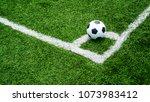 Soccer football on corner kick...