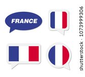 set of france flag in dialogue... | Shutterstock .eps vector #1073999306