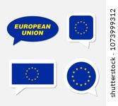 set of european union flag in... | Shutterstock .eps vector #1073999312