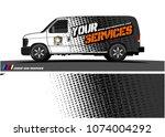 cargo van graphic vector.... | Shutterstock .eps vector #1074004292