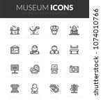 outline black icons set in thin ... | Shutterstock .eps vector #1074010766