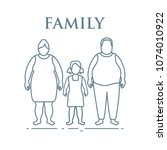 family. mom  dad and daughter.... | Shutterstock .eps vector #1074010922
