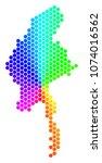 spectrum hexagon myanmar map....   Shutterstock .eps vector #1074016562