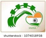 backhoe logo made from the flag ... | Shutterstock .eps vector #1074018938