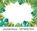 tropical leaves garden frame... | Shutterstock .eps vector #1074047315