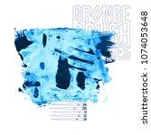 blue brush stroke and texture....   Shutterstock .eps vector #1074053648