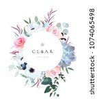 round floral label frame... | Shutterstock .eps vector #1074065498