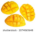 yellow mango isolated on white... | Shutterstock . vector #1074065648