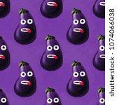 funny eggplant character... | Shutterstock . vector #1074066038