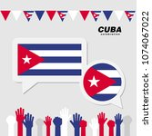 national celebration with cuba... | Shutterstock .eps vector #1074067022