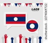 national celebration with laos... | Shutterstock .eps vector #1074069722