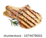 grilled pork isolated on white... | Shutterstock . vector #1074078002