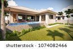 3d rendering of tropical house...   Shutterstock . vector #1074082466