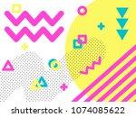memphis style geometric pattern ... | Shutterstock .eps vector #1074085622