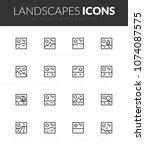 outline black icons set in thin ... | Shutterstock .eps vector #1074087575