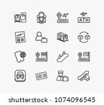 airport icon set and phone...