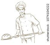 baker man cooking bread. hand... | Shutterstock .eps vector #1074104222