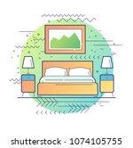 bedroom. modern flat vector...   Shutterstock .eps vector #1074105755