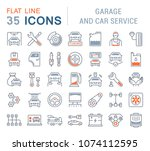 set of vector line icons  sign... | Shutterstock .eps vector #1074112595
