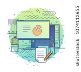 workplace. modern flat vector... | Shutterstock .eps vector #1074112655