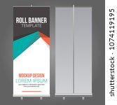 roll up banner abstract design... | Shutterstock .eps vector #1074119195
