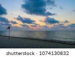 sunrise scene at caribbean sea...   Shutterstock . vector #1074130832