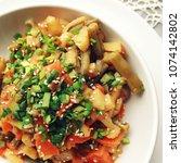 vegetable stew with potato ... | Shutterstock . vector #1074142802