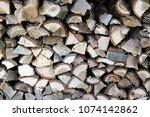 firewood for the winter.... | Shutterstock . vector #1074142862