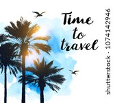 travel background with... | Shutterstock .eps vector #1074142946