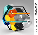 hexagon geometric composition ... | Shutterstock .eps vector #1074147038