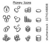money   coin icon set in thin... | Shutterstock .eps vector #1074148808