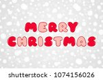 merry christmas red and pink... | Shutterstock .eps vector #1074156026