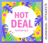 summer sale and hot deal with... | Shutterstock .eps vector #1074163175