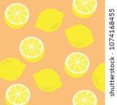 lemon pattern print. vector... | Shutterstock .eps vector #1074168455