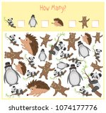 counting game for preschool... | Shutterstock .eps vector #1074177776