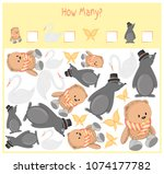 counting game for preschool... | Shutterstock .eps vector #1074177782