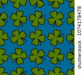seamless pattern with four leaf ... | Shutterstock .eps vector #1074178478