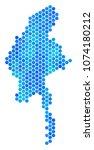 hexagon blue myanmar map....   Shutterstock .eps vector #1074180212