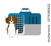 dog with box transport mascot | Shutterstock .eps vector #1074180632