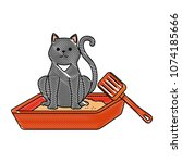 cute cat mascot in the sand box ... | Shutterstock .eps vector #1074185666