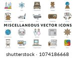 set of 20 miscellaneous minimal ... | Shutterstock .eps vector #1074186668