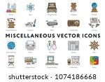 set of 20 miscellaneous minimal ... | Shutterstock .eps vector #1074186668