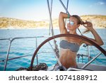 beautiful young girl traveling... | Shutterstock . vector #1074188912