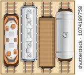 railway locomotive and wagons....   Shutterstock .eps vector #1074189758