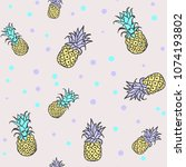 pineapples with green and lilac ... | Shutterstock .eps vector #1074193802