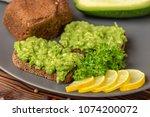 sandwiches with avocado green...   Shutterstock . vector #1074200072