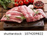 fresh pork ribs with... | Shutterstock . vector #1074209822