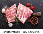 fresh pork ribs with... | Shutterstock . vector #1074209846