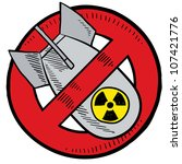 Doodle style anti-nuclear symbol showing a nuclear bomb in a red circle, crossed out.  Illustration is in vector format. - stock vector