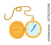 antique gold pocket watch....   Shutterstock .eps vector #1074225248